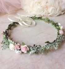 wedding photo - Pale pink crown Pale flower crown Blush pink floral crown Pale pink Headband Blush pink crown Blush pink headband Festival flower crown