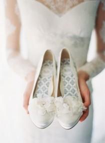 wedding photo - STELLA SILK ORGANZA FLORAL SHOE CLIP