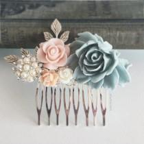 wedding photo - Pastel Wedding Hair Comb, Bridal Hair Pin, Personalised, Floral Hair Slide, Gray Blue, Blush Pink, Pearl, Silver Leaves, Bridesmaid Gift