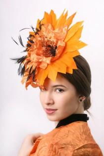 wedding photo - SALE!!! Orange derby hat, wedding guest hat, royal ascot headpiece, Kentucky derby hat, Derby fascinator, party hat, Cocktail headpiece