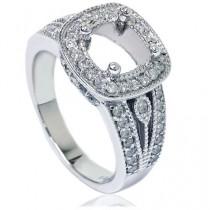 wedding photo - 3/4CT Cushion Halo Diamond Engagement Ring Setting White Gold Semi Mount Vintage