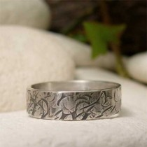 wedding photo - Sterling Silver Band Ring, Distressed Hammered Silver Ring, Hand Forged Metalsmith Jewelry,  Modern Organic Ring, Grunge Wedding Jewelry