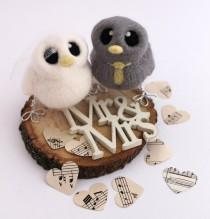 wedding photo - Mini Birds Wedding Cake Topper Grey and Yellow Bride and Groom Needle Felted Birds