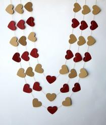 wedding photo - Rustic wedding decor, Wedding party decoration, Red cherry & kraft heart garland, Heart garland, Rustic kraft brown garland, KCO-3048