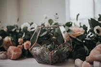 wedding photo - Terrarium, Glass terrarium, copper wedding centrepiece for candles and fairylights ,copper dodecahedron , succulent geo planter,
