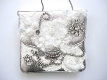 wedding photo - Silver Leather Statement Handbag, Bling Handbag, Rhinestone Decorated Fancy Purse, Shoulder Bag Wedding Handbag, Vintage Party Purse