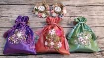 wedding photo - Embroidery  Floral Bags ,Wedding Favor Bags, Gift Drawstring Bags, Christmas Gift Bags,Party Bags,Jewelry Bags