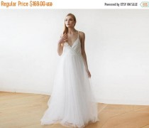 wedding photo - 25% OFF Ivory straps wrap tulle maxi dress, Fairy tulle wedding gown, Affordable wedding gown 1053