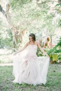 wedding photo - Blush Pink Wedding Gown - As seen in Style Me Pretty - One of a Kind Unique Piece