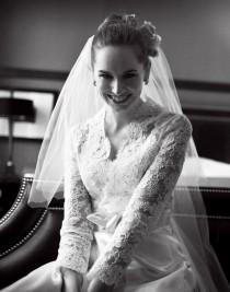 wedding photo - Custom Wedding Gown - Alencon Lace Bridal Ensemble