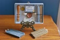 wedding photo - Vintage Stuart Houghton Wax Wedding Seal Set - Wedding Bells & Thank You Stamps - Plus 12 Extra Sticks Sealing Wax -Edwardian Wedding Custom