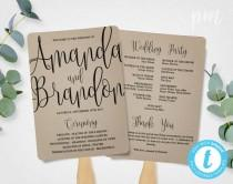 wedding photo - Wedding Program Fan Template, Calligraphy Script Printable Program, Instant Download, DIY Ceremony Program Fan, Kraft Paper