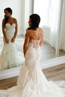 wedding photo - Sweetheart Mermaid Tiered Lace Wedding Dress Ruched With Sweep Train WD035