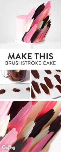 wedding photo - How To Make A Brushstroke Cake: FREE Cake Decorating Tutorial