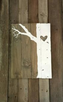 wedding photo - Wooden Guest Book, Large Wood Guest Book Sign, Large Birch Tree Guest Book, Established, Rustic Wedding Decor, Shabby Chic Wedding Decor