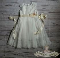 wedding photo - vintage white flower girl dress, baby dress, vintage flower girl dress, lace dress, cream flower girl dress, champagne flower girl dress