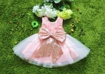 wedding photo - Rose Gold Sequin Sash Baby Girl Dress, Toddler Fancy Pageant Dress, Baby Birthday Dress, Infant Dress, PD111-2