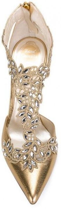 wedding photo - Women's Metallic Embellished Lace-Detail Pumps