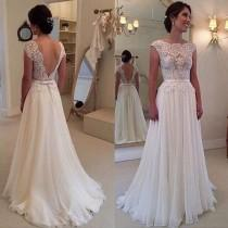 wedding photo - Ivory Lace Chiffon Backless Cap Sleeves Beach Bridal Wedding Dress LD141