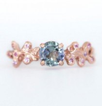 wedding photo - Rose Gold Tanzanite Mermaid Coral Boho Ring- Pink Sapphire Accents - December birthstone - Unique Engagement Ring by Anueva