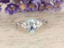 wedding photo - Aquamarine engagement ring with diamond,Solid 14k White gold,promise ring,bridal,6x8mm oval cut custom made fine jewelry,Pave set