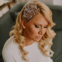 wedding photo - Bridal pearl hair vine, Wedding pearl hairvine, Wedding hair piece, Bridal pearl headpiece, Bridal hair adornment, Wedding rhinestone halo