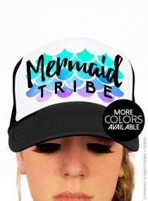 wedding photo - Mermaid Tribe Bridal Party Trucker Hats - Mermaid Bridal Party, Trucker Hat, Bride Accessories, Bridal Party Hats, Beach Wedding
