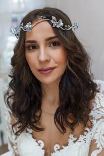 wedding photo - Bridal whimsical halo, Floral wedding hair wreath, Bridal silver crown, Woodland flower halo, Bridal boho hair piece, Botanical bridal tiara