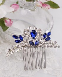 wedding photo - Blue Bridal Hair Comb Something Blue Hair Comb Navy Blue Wedding Hair Accessory Rhinestone Hair Comb Sapphire Blue Crystal Hair Comb