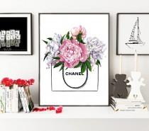 wedding photo - Chanel illustration, Peony print, Peonies print, Fashion illustration, Chanel print, Chanel art print, Peonies flower art,Watercolor flowers