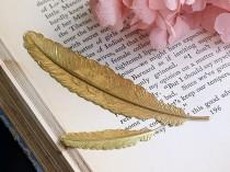wedding photo - Brass Large Feather Bookmark, Brass Bookmark, 114x23mm, C05Y.BR15.P01