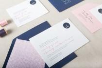 wedding photo - Monogram Wedding Invitation. Navy & Pink Wedding Stationery. Modern Calligraphy Wedding Invite. Nautical Wedding Invitation Suite.