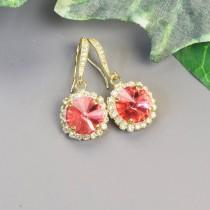wedding photo - Swarovski Earrings - Coral Earrings - Gold Drop Earrings - Bridesmaids Earrings - Bridesmaid Jewelry - Swarovski Jewelry - Bridal Jewelry