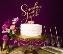 wedding photo - Wedding Cake Topper, Personalized Cake Topper, Gold Topper, Wedding Decor