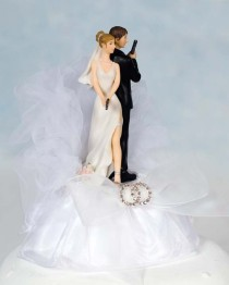 wedding photo - Super Sexy Spy Rhinestone Wedding Rings Cake Topper - Custom Painted Hair Color Available - 100067