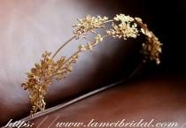 wedding photo - Gold flower crown, Gold bridal head piece, Gold bridal crown tiara, Gothic style Bridal Hair Vine, Bridal Headpiece, Bridal Headband