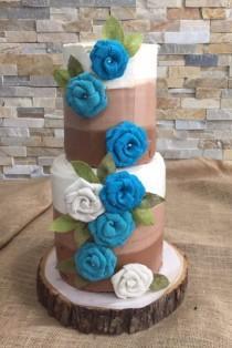 wedding photo - Burlap Flowers - Turquoise - Aqua - Rustic Wedding - Ombre - Naked Cake - DIY Rustic Wedding Flowers - Teal Wedding, Turquoise Wedding