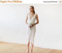 wedding photo - 25% OFF Ivory Wrap Tulip Dress with V Neckline 1154