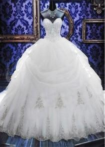 wedding photo - Elegant White Sweetheart Crystal Ball Gown Wedding Dress Court Train Bowknot Bridal Gowns With Beadings,35 From DressyBridal