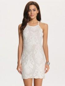 wedding photo - Beautiful White Holiday Dress Bodycon Backless Tie Embroidered Shoulder Strap Dress