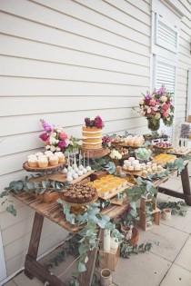wedding photo - 16 Country Rustic Wedding Dessert Table Ideas