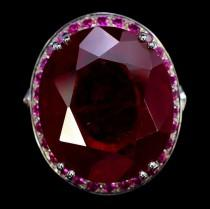 wedding photo - A Vintage 40.95CT Oval Cut Red Ruby Blue Sapphire Halo Ring