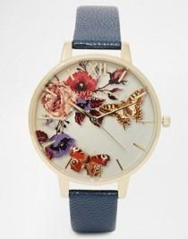 wedding photo - Olivia Burton Winter Floral Face Leather Strap Oversize Dial Watch At Asos.com