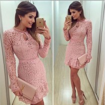 wedding photo - Lace Hollow Out Long Sleeves Mini Party Dress