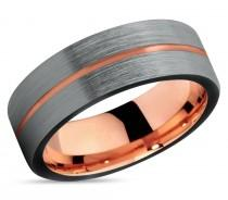 wedding photo - Brushed Silver Black Tungsten Ring Rose Gold Wedding Band Ring Tungsten Carbide 7mm 18K Tungsten Ring Man Male Women Anniversary Matching