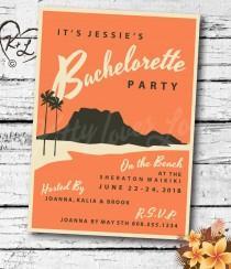 wedding photo - PRINTABLE Bachelorette Hens Party INVITATION Digital PDF Wedding Vintage Retro Miami Hawaii Hawaiian destination invite birthday Luau Tiki