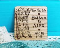 wedding photo - Wood Save-the-Date Magnet-Oak Tree Initials Save the Date-Wooden Save-the-Date Magnets-Engraved Magnets-Rustic Save the Dates-Wedding Magnet