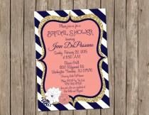 wedding photo - Coral and Navy Wedding Invitation, Bridal shower, Gold, Digital file, Printable- T11