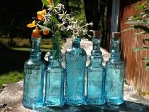 wedding photo - 5 Blue Bottles 6.5 Inch Tall 4 oz 120ml 6.5 Inches Tall Corks Glass Bottle Collection Vintage Wedding Decor Blue Vases Bud Vases