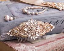 wedding photo - Rose Gold Wedding Hair Comb, Bridal Hair comb, Bridal Hair Accessories, Crystal Hair Comb, Rhinestone Hair Comb, Bridal Head Piece
